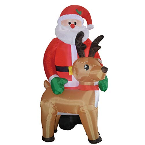 GOOSH 8Foot Christmas Inflatable Santa Claus with Reindeer LED Lights Indoor Outdoor Yard Lawn Decoration - Cute Fun Xmas Holiday Blow Up Party Display (8FT Christmas Santa and Deer) (Xmas Reindeer Lights)
