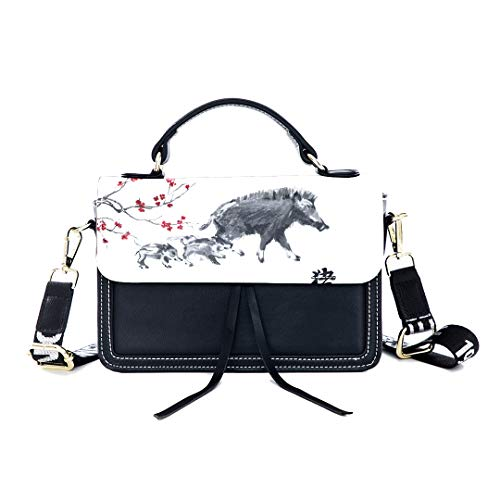 Fashion Unique Handbag Oriental Writing Chinese Style Brush Word Print Shoulder Bag Top Handle Tote Flap Over Satchel Purses Crossbody Bags Messenger Bags For Women Ladies