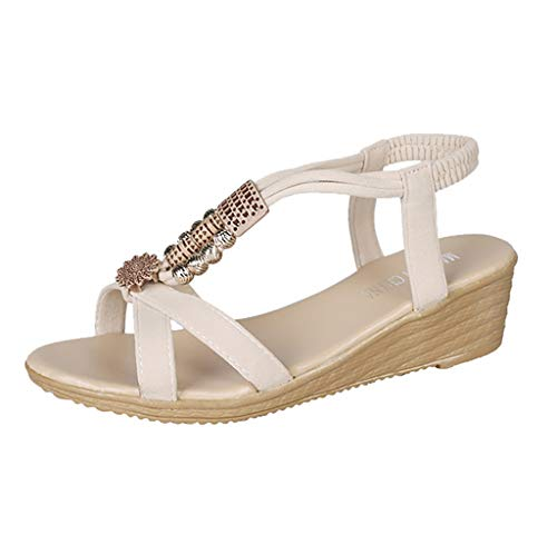 Hemlock Women Wedge Sandals Bohemia Beach Sandals T-Strap Shoes Open Toe Platform Sandals Elastic Sandals Beige ()