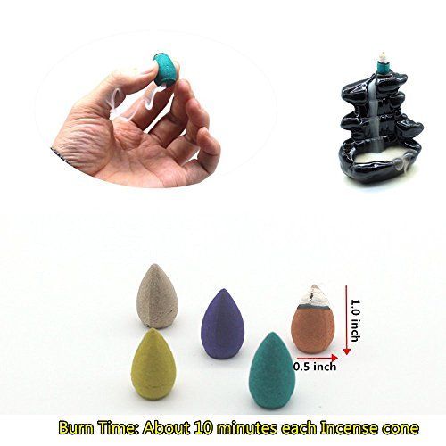 OTOFY 100 Pcs Backflow Incense Cones Osmanthus Jasmine Incense Lavender Green Tea Sandalwood Mixed Natural Reflux Fragrant Cone Incense - incensecentral.us