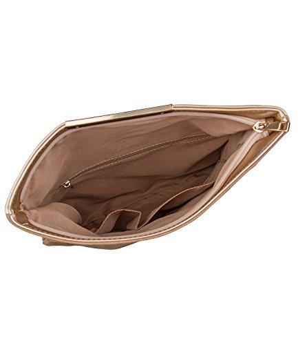 """SIX """"Party"""" Damen Handtasche Abendtasche Flip-Over Clutch, Pochette in Rosa Metallic und Hellbraun Wildleder-Optik abnehmbarer Umhängeriemen (427-632)"""