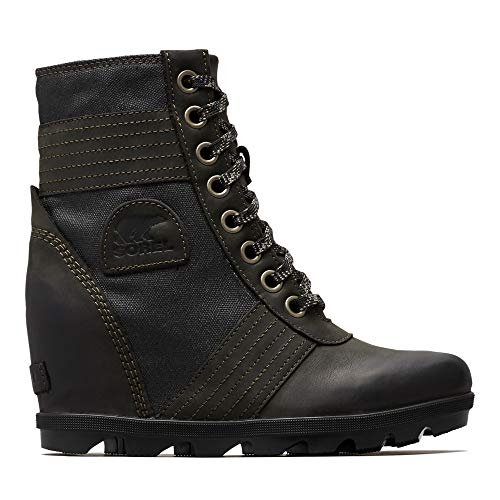 Sorel - Women's Lexie Wedge Waterproof Lace-Up Ankle Boot, Black, 8 M US (Boot Wedges For Women)
