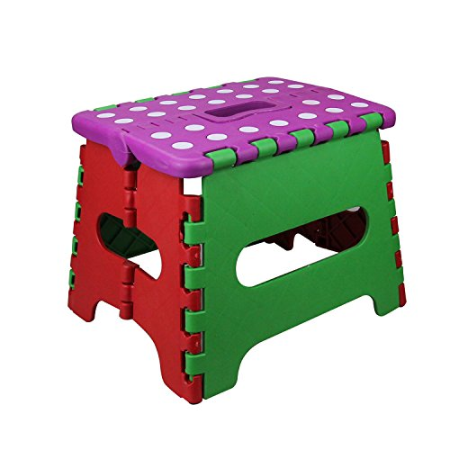 Folding Step Stool, Zolove Non Slip Fold Stool For Kitchen,Bathroom, Bedroom.The Lightweight Step Stool,Opens Easy with One Flip For Kids or Adults(Green) - Flip Step Stool