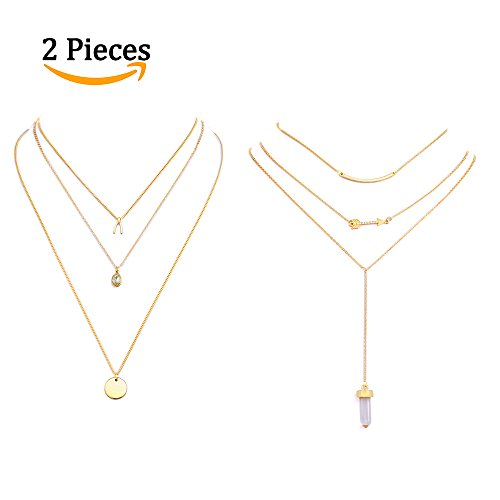Anni Coco 2 PCS Multilayer Chain Lariat Necklace with Gold Sequins & Cubic Zirconia, Arrow & Gemstone Pendant for Women