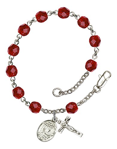 Ruby Silver Crucifix (Silver Plate Rosary Bracelet features 6mm Ruby Fire Polished beads. The Crucifix measures 5/8 x 1/4. The charm features a Miraculous)