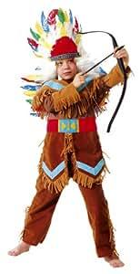 Cesar - Disfraz de jefe indio con arco y plumas para niño (de 5/7 años)