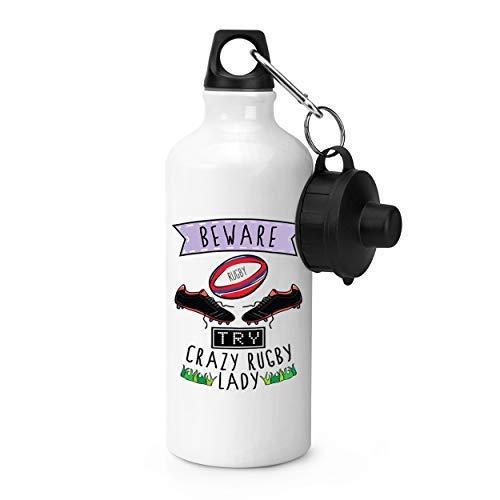 WENNUNA Beware Crazy Rugby Lady Sports Bottle 600ml 21oz