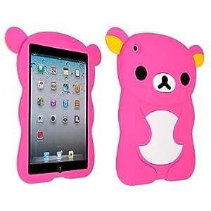 Wohai Gadget Mall - Caso lindo suave del silicio del oso para el iPad Mini , Rose