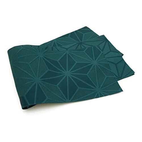 ワイプ取る探偵半幅帯 Jouer ete couleur 深緑色 グリーン 麻の葉 細帯 半巾帯 小紋 紬 浴衣 着物 日本製