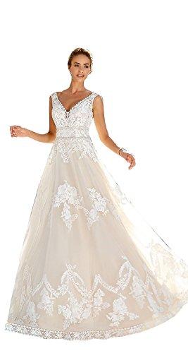 d8b0d2180cdf Kelaixiang Women's V Neck Lace Wedding Dress Lace Applique Backless Bride  Bridal Gown