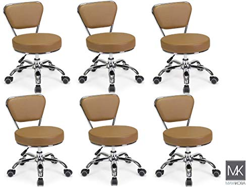 Set of 6 Dayton Pedicure Stool (Cappuccino) Pneumatic, Adjustable Height, Perfect for Nail Salon, Pedicure spa