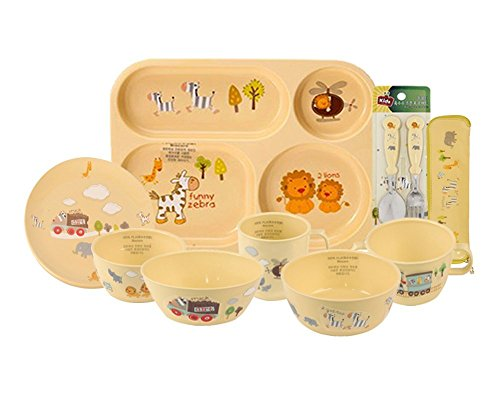 E-MART BPA Free, 100% Biodegradable Corn Made Kids Dinnerware Full Set, 9 Piece (Bpa Free Corn compare prices)