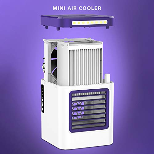 Beyonds Portable Air Cooler, 3 in 1 Mini Air Cooler,Humidifier, Purifier, Touch Control and LED Display3 Speed Fan Air Conditioner Noiseless Evaporative Cooler Mobile Air Conditioner for Home Office