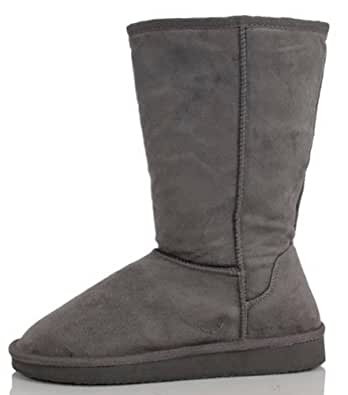 "Womens Boots Mid Calf 12"" Australian Classic Tall Faux Sheepskin Fur 4 Colors,Betty-1 Charcoal 5.5"