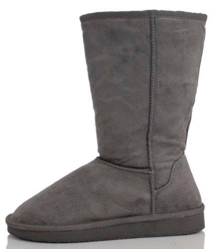 Soda Frauen Soong Comfort Faux Wildleder Fell Mitte-Kalb Flachen Stiefel, Nat, 8 M US Holzkohle