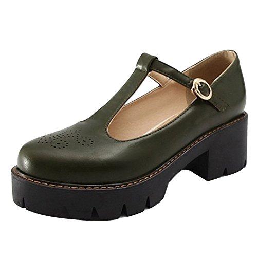 Green Amry Summer Women Shoes Fashion Platform Closed Shoes TAOFFEN Toe OP8zwqq
