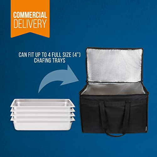 """Food Delivery Bag. Heavy Duty Bag with Strong Insulation. Reinforced Stitching for Heavy Loads. Perfect for Food Delivery & Commercial Transportation. Fit Chafing Trays. Large Capacity (23""""x14""""x15""""). by Trust the Fresh (Image #3)"""