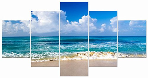 Pyradecor Seaside Large Modern Framed Seascape 5 Panels Giclee Canvas Prints Landscape Pictures Paintings on Canvas Wall Art Ready to Hang for Living Room Bedroom Home Decorations L