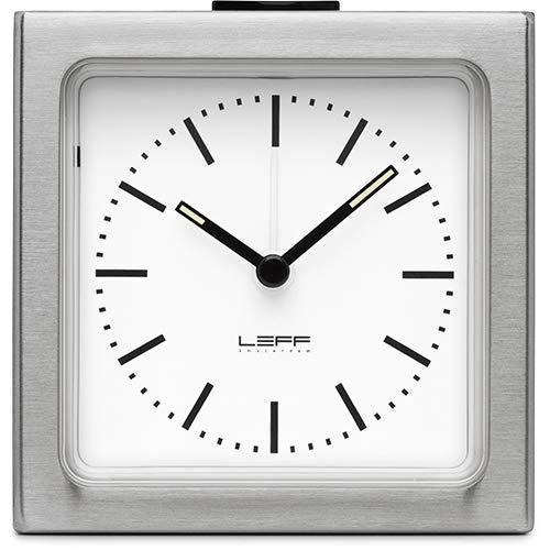 LEFF Amsterdam Analog Alarm Clock Block Stainless Steel White Bedroom Home Decor