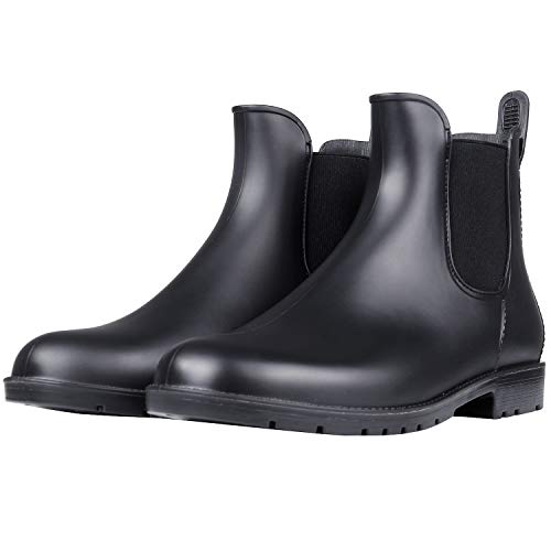 45abe56e917d Women s Waterproof Ankle Rain Boots - Lady Slip On Short Rain Shoes Chelsea  Booties Black