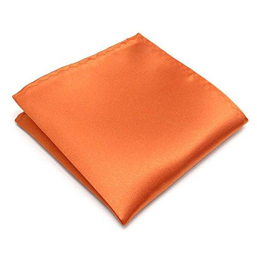 22 Colors Premium Men's Handkerchief 100% Woven Silk Wedding Tuxedo Solid Pocket Square (Orange)
