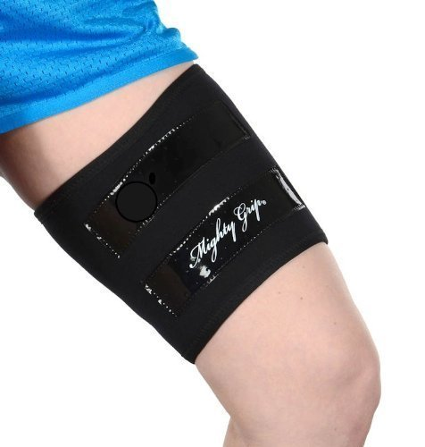 Mighty Grip Black Inner Thigh Protectors for Pole Dancing with Tack Strips (1 Pair) (Medium) (Mighty Pole Grip)