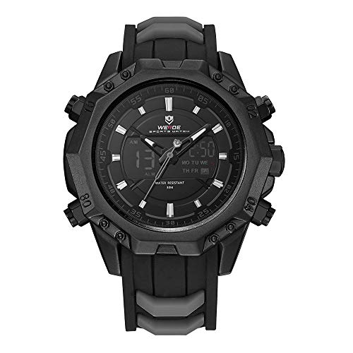 - WEIDE Men Analog Sport Watch LCD Digital Rubber Band Calendar Auto Date Day Quartz Dual Time Display Black Wristwatch
