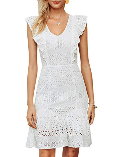 Elegant Lace Ruffle Mini Dress Sleevesless Cotton A-line Dress White 2-S