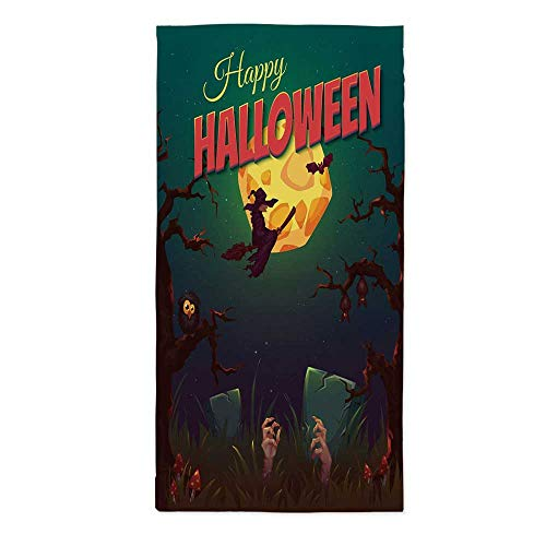 Halloween No Fading Tablecloth,Happy Halloween Poster Design Witch on Broom Mushroom Dead Resurgence Vintage Decorative for Table Outdoor Picnic Holiday Dinner,60''W X 120''L -