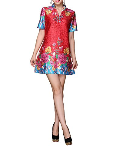 V-Neck Chinese Traditional Stretchy Blouse with Floral Patterns (M)