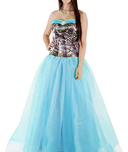 PrettyWish Women's Camouflage Tulle Modest Wedding Party Dress Prom Gown Sky Blue us6]()