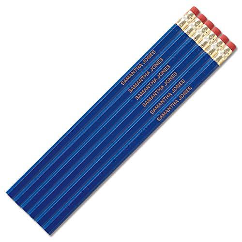 (Blue Personalized Pencils - Set of 12, Engraved Name, Hardwood #2 School Pencils, Kid's)