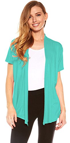 (Red Hanger Cardigans for Women - Short Sleeve Womens Open Cardigan Sweaters (Seafoam-XL))