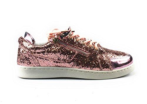 Forever Link Damen Peggy 44 Glitter Metallic gesteppte Schnürschuhe Low Top Fashion Sneaker Rosa*
