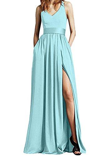Bowith Femmes Bretelles En Mousseline De Soie Ciel Robes De Bal Côté Robes De Soirée Bleu Divisé
