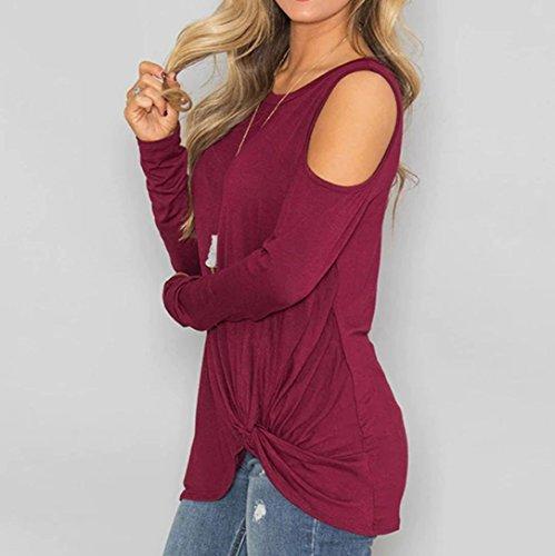 Du Sexy Paule Chemise T Unie Vin Froide Top Longues Femme Shirt Bringbring Couleur Blouse Manches Casual T6w5Txd0