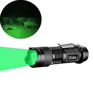 Ulako Single 1 Mode Zoomable LED 150 Yard Green Light Flashlight Torch For Fishing Hunting Detector