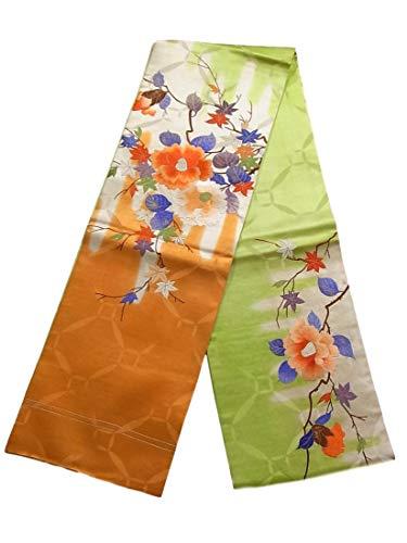 制限貝殻ピザアンティーク 丸帯  刺繍 椿に楓 梅の花 正絹