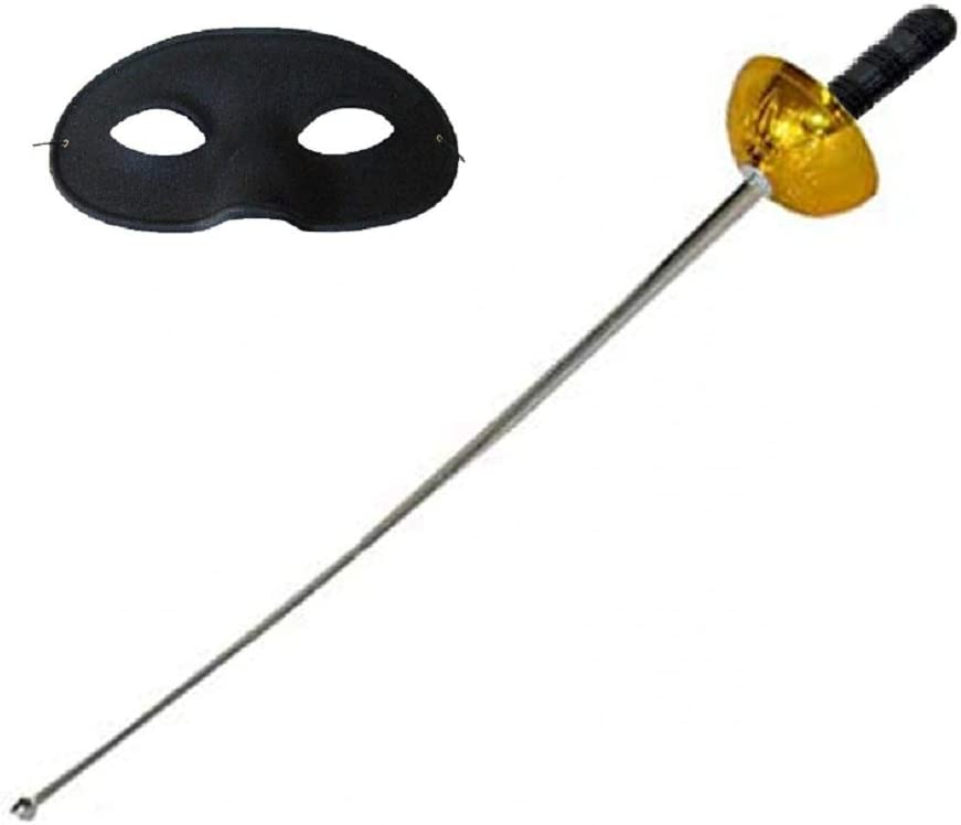 Gioco Accessori Halloween Bambini Tre Moschettieri Costume Adulti Spadaccino Lovelegis Spada e Maschera Colore Argento e Oro Travestimento Carnevale Giocattolo Zorro
