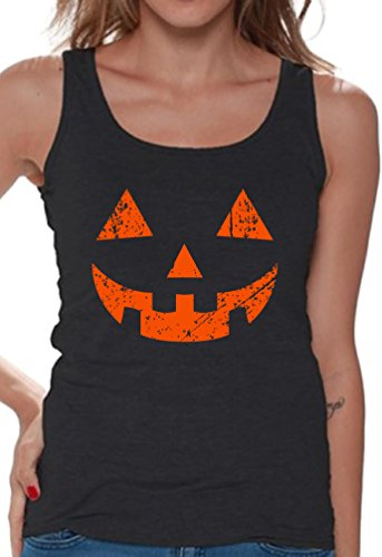 Awkward Styles Women's Jack O' Halloween Pumpkin Tank Tops for Women Halloween Horror Funny Tee Black L