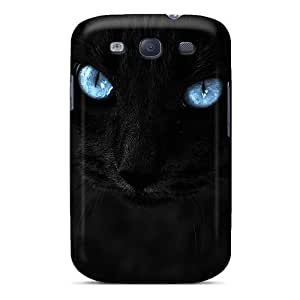 Hard Plastic Galaxy S3 Case Back Cover,hot Black Cat Blue Eyes Case At Perfect Diy