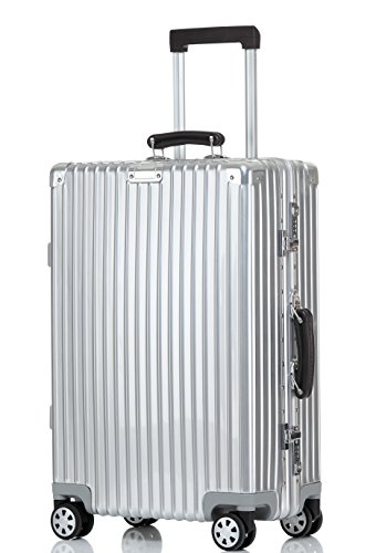 Luggage Aluminum Frame Hardshell Spinner Suitcase TSA Approved 28'', Silver by Clothink