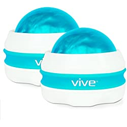 Massage Roller Ball by Vive (Pair) Self, Full Body Manual Massager for Athletes and Sore Muscle Pain Relief - Relaxing Therapy for Arms, Legs, Back and Foot