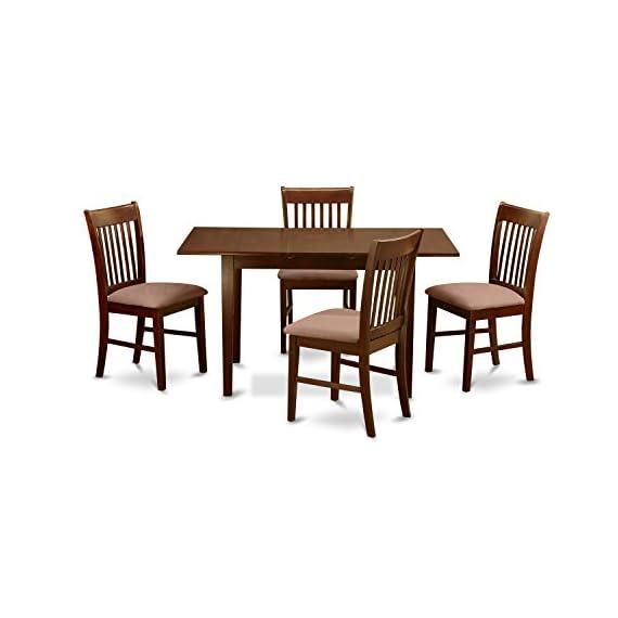 East West Furniture Nofk5 Mah C 5 Piece Kitchen Nook Dining Table Set Mahogany Finish