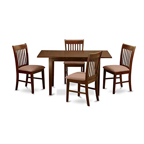 East West Furniture NOFK5-MAH-C 5-Piece Kitchen Nook Dining Table Set, Mahogany Finish (Room Dining Table Extendable)
