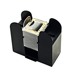 Transform any room into a casino with the battery operated and portable design of this Automatic Card Shuffler 6 Deck Dealer by Trademark! The state-of-the-art gears roll the cards into a perfect shuffle every time with just a press of a swit...