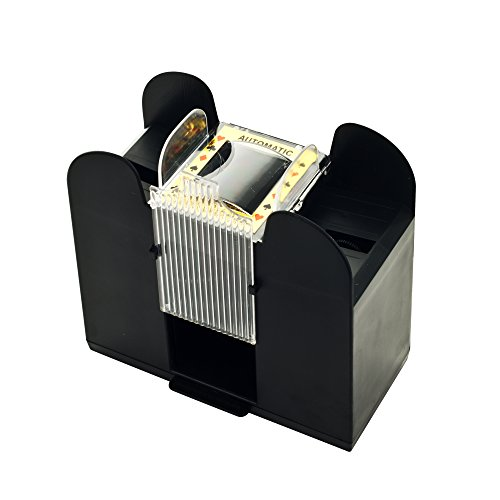 Playing Card Shuffler, Automatic Battery Operated 6 Deck Casino Dealer Travel Machine Dispenser by Trademark ()