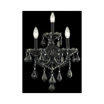 Strass Jet - Elegant Lighting Maria Theresa Collection 3-Light Wall Sconce with Swarovski Strass/Elements Jet Black Crystal, Black Finish