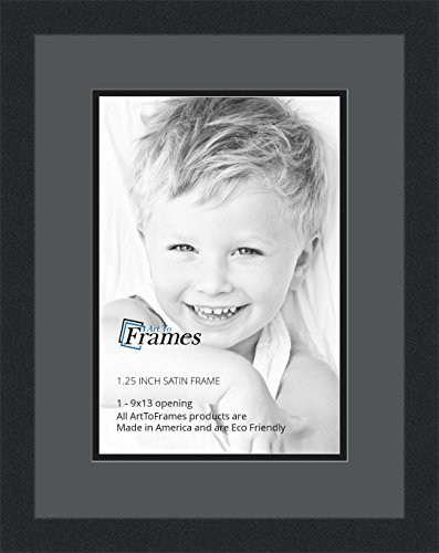 ArtToFrames Collage Photo Frame Double Mat with 1 - 9x13 Openings and Satin Black Frame
