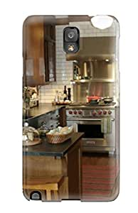 Fashion Tpu Case For Galaxy Note 3- Kitchen With Contrasting White Subway Tile And Dark Wood Tones Defender Case Cover
